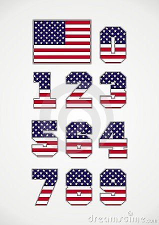 American Flag and Numbers