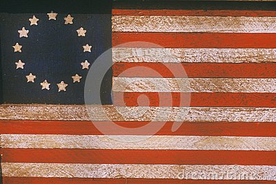 American Flag Painted On Wood