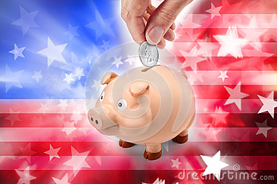American Flag Piggy Bank Money