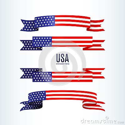 Free American Flag Ribbon Stars Stripes Patriotic American Theme USA Flag Of A Wavy Ribbon Shape Icon Design Element For Independence Royalty Free Stock Photos - 138551768