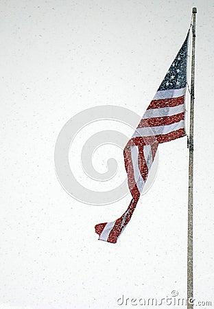 American Flag on a Snowy Day