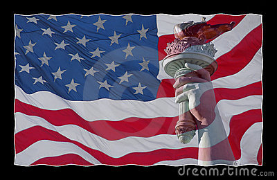 American flag and statue