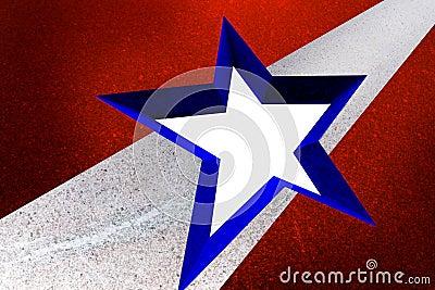 American flag style star in granite frame