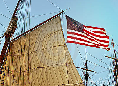 American Flag With Tall Ship Sails, California Royalty Free Stock Photo - Image: 16024225