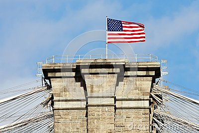 American flag on the top Brooklyn Bridge