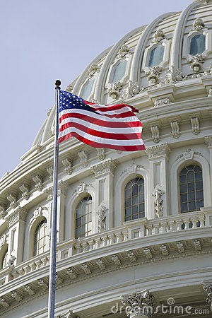 American flag with US Capitol dome detail
