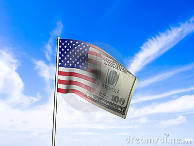 American flag us dollar over blue sky concept