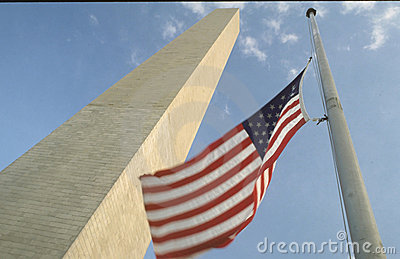 American flag and Washington monument