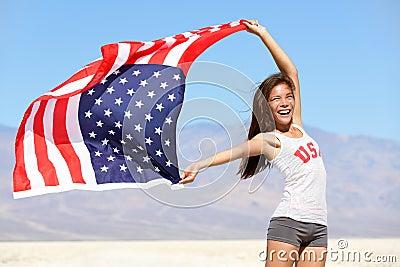 American flag - woman USA sport athlete winner