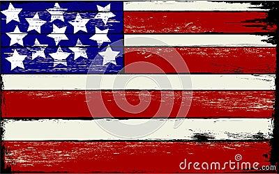 American Flag on Wood