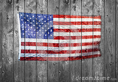 American Flag Wood Background