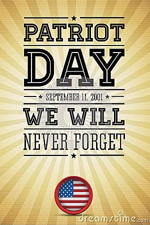 American flag words patriot day september 11, 2001