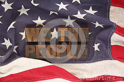 American flag with words we the people