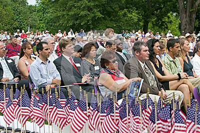 American flags for 76 new American citizens Editorial Image