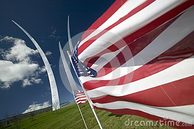 American flags and Air Force Memorial