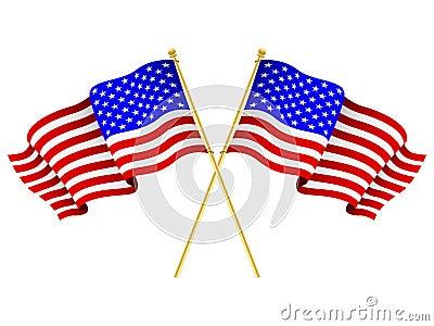 American Flags Crossed