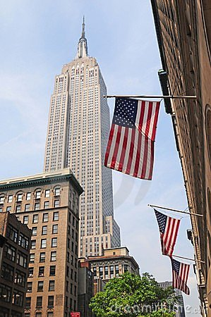 American flags and empire state background Editorial Photography