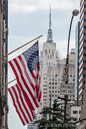 American Flags Empire State Building Editorial Stock Image
