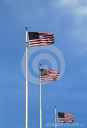 Free American Flags Flying High Royalty Free Stock Image - 30352336