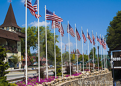 American Flags in Helen Georgia