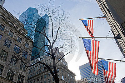 American flags in Manhattan