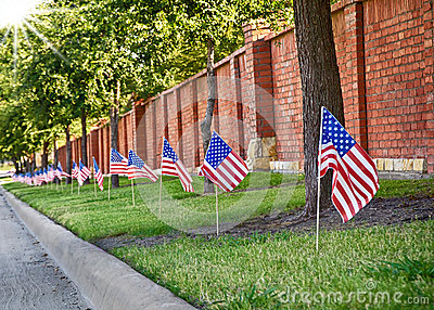 American flags on the street side