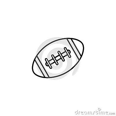 American football ball line icon, college sport Vector Illustration