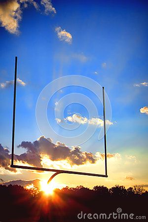 American Football End Zone Goal Post at Sunset