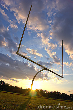 American Football End Zone Goal Posts at Sunset