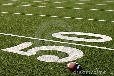 American Football on Field with copy space