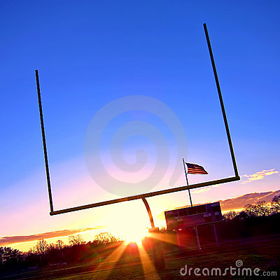 Free American Football Goal Posts And US Flag At Sunset Stock Images - 22233974