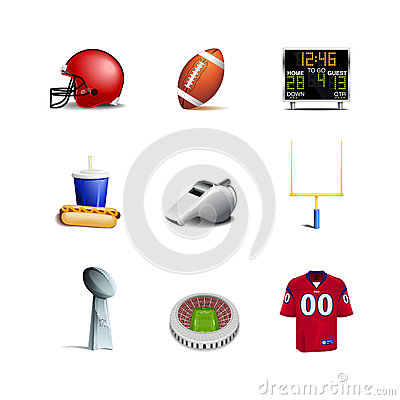 Free American Football Icons Stock Photography - 26710532