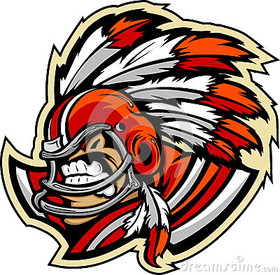 American Football Indian Chief Mascot With Helmet
