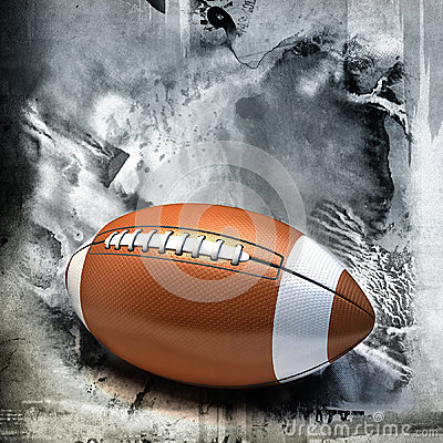 American football over grunge background