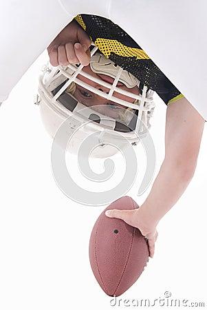 American football player hiking ball