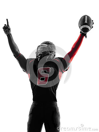 American football player  portrait celebrating touchdown silhoue