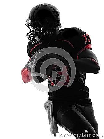 Free American Football Player Quarterback Portrait Silhouette Royalty Free Stock Photos - 34964288