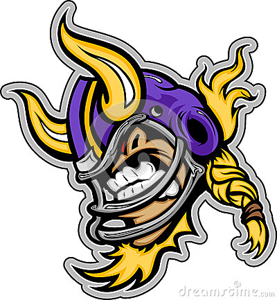 American Football Viking Mascot Wearing Helmet