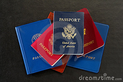 American and Foreign International Passports Stack