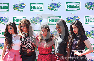 American girl group Fifth Harmony attend the Arthur Ashe Kids Day 2013 at Billie Jean King National Tennis Center Editorial Image