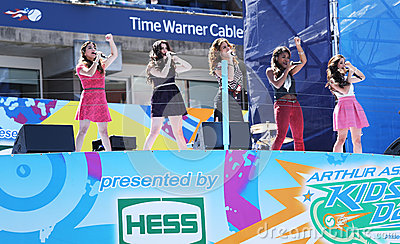 American girl group Fifth Harmony performs at the Arthur Ashe Kids Day 2013 at Billie Jean King National Tennis Center Editorial Stock Photo