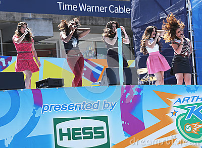 American girl group Fifth Harmony performs at the Arthur Ashe Kids Day 2013 at Billie Jean King National Tennis Center Editorial Stock Image