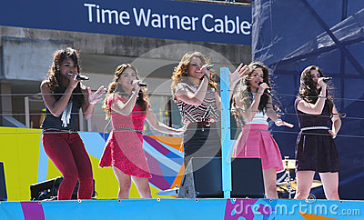 American girl group Fifth Harmony performs at the Arthur Ashe Kids Day 2013 at Billie Jean King National Tennis Center Editorial Image