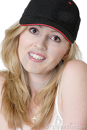 Free American Girl In Baseball Cap Stock Image - 490601