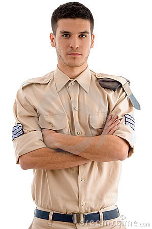 American guard with folded hands