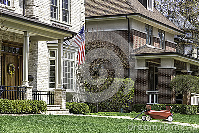 American home with us flag