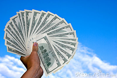 American hundred dollars fan in the hand