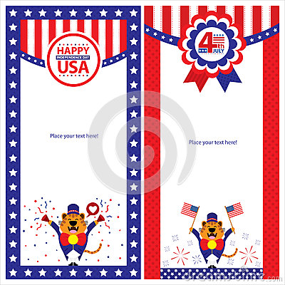 American Independence day template card sets.