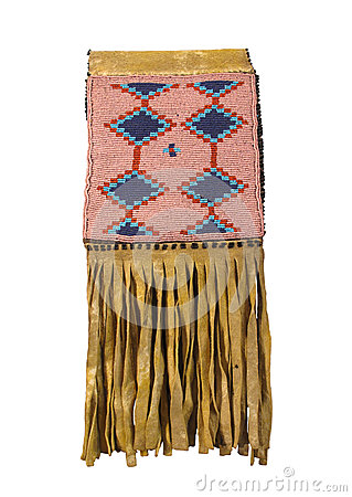 American Indian beaded buckskin bag isolated