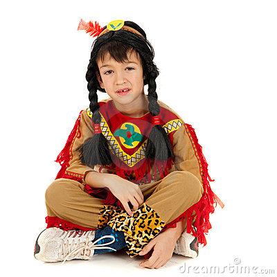 American indian boy in costume